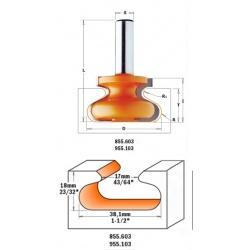 CMT freza baldinėms rankenėlėms D-38,1 I-20,7 S-8,0 R-6,00